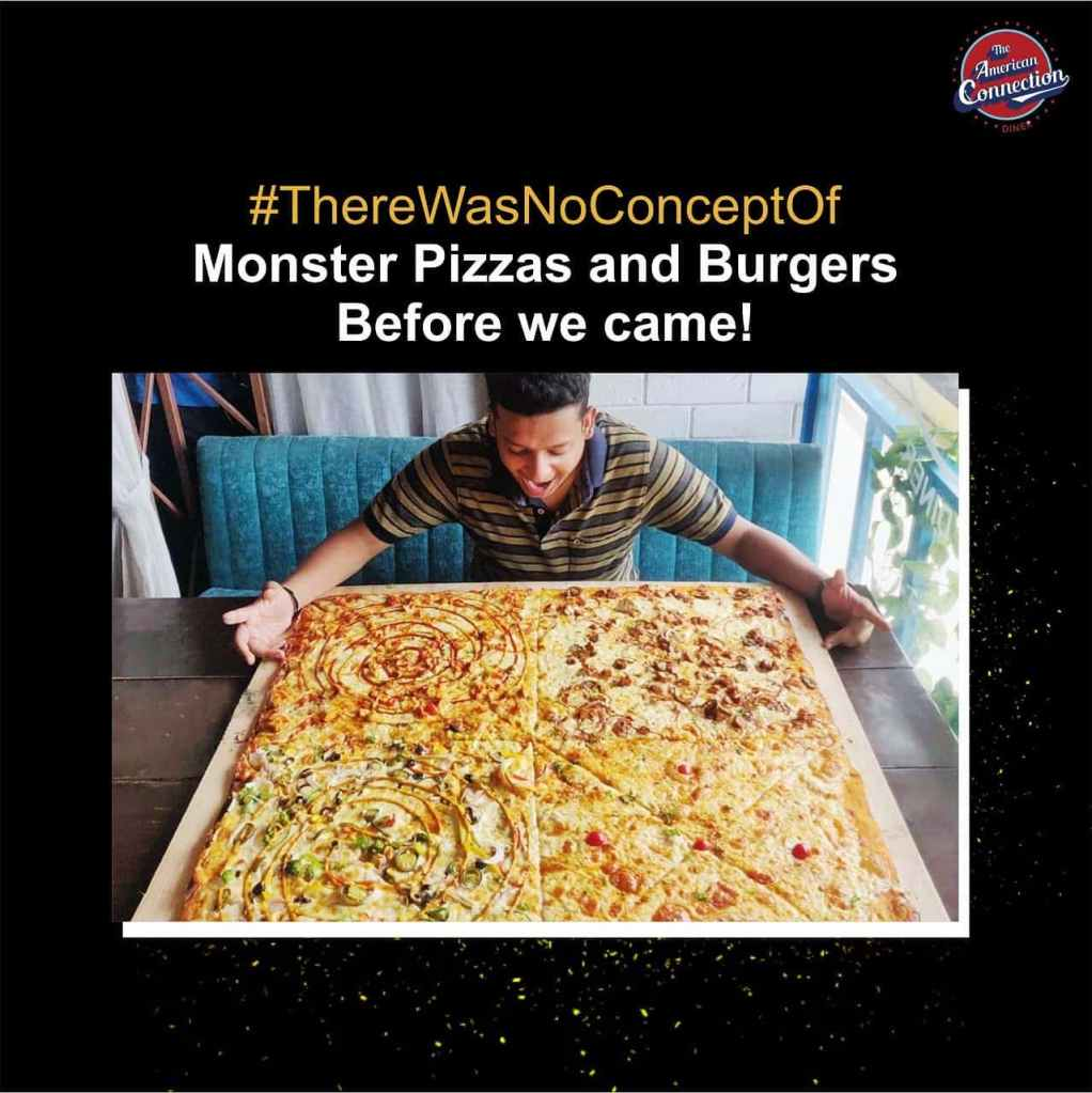 biggest pizza in delhi and india at american connection